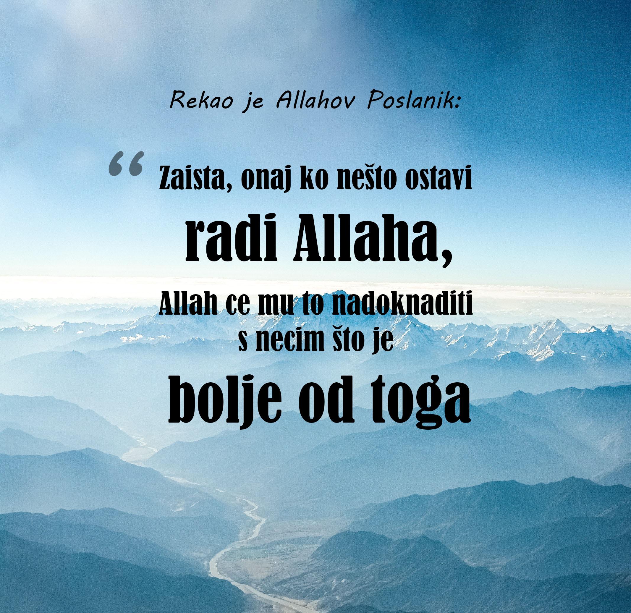 ostavljanje grijeha radi Allaha